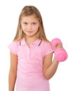 Girl exercising with dumbbell little isolated on white Royalty Free Stock Photography