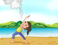 A girl exercising near the volcano illustration of Royalty Free Stock Images