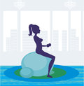 Girl exercising pilate in a gym illustration Stock Image