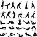 Girl exercising silhouettes Stock Photos