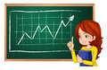 A girl explaining the chart at the blackboard illustration of on white background Royalty Free Stock Image