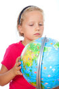 Girl explore the world globe Royalty Free Stock Photo