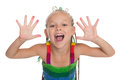 Girl with exposed arms forward playful is six years old Royalty Free Stock Image