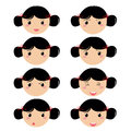 Girl expresion icons expression face on white background Royalty Free Stock Photo