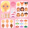 Girl face constructor vector kids character avatar and girlish creation head lips or eyes illustration girlie set of