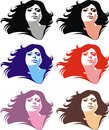 Girl face in the different colors isolated on the white background Royalty Free Stock Photo