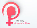 Girl face for international women s day celebration with pink silhouette of a young and female symbol on shiny background Stock Photos