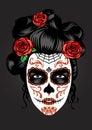 Girl face in sugar skull make up