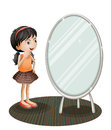 A girl facing the mirror illustration of on white background Stock Photo