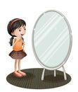 A girl facing the mirror