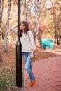 Girl in fall Royalty Free Stock Photo