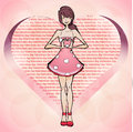 Girl fall in love valentines day vector illustration Royalty Free Stock Images