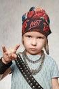 Girl-fan of rock-music Royalty Free Stock Image