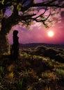 Girl In Fantasy Forest Romantic Sunset Vertical