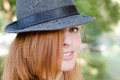Girl with fedora hat Royalty Free Stock Photo