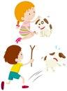 Girl feeding dog and boy chasing dog