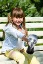 Girl Feeding Pigeon Royalty Free Stock Photo