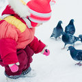 The girl feeds pigeons in winter bread Stock Photos
