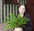Girl with fern Stock Photos