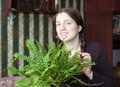 Girl with fern Royalty Free Stock Photos