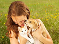 Girl in Field With Kitten and Affectionate Puppy Royalty Free Stock Photo