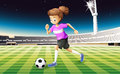 A girl at the field playing football illustration of Stock Photo