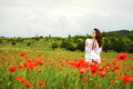 Girl in field of red poppies Stock Photos