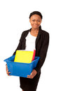Girl with files box Stock Image