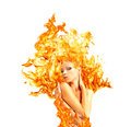 Girl fire advertising body and emotions energy Royalty Free Stock Image