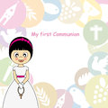 Girl first communion invitation card Stock Image