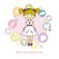 Girl first communion invitation card religious icons Stock Photo