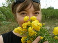 The girl with the first spring flowers globeflowers may day blooming inhales aroma Stock Images