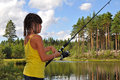 Girl fishing Stock Image