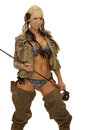 Girl with fishing equipments Royalty Free Stock Photo