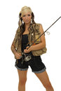 Girl with fishing pole equipments including reel and rod Stock Image