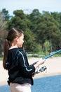 Girl fishing Royalty Free Stock Photo