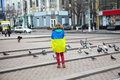 The girl with a flag stands on the square kiev ukraine mass meeting for european integration and government s resignation Royalty Free Stock Image