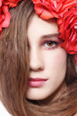 Girl in floral headband close up portrait of young beautiful fresh with long hair and Stock Photo