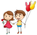 A girl with a flower and a boy with balloons Royalty Free Stock Image