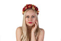 Girl with flower chaplet on her head and makeup Royalty Free Stock Photo