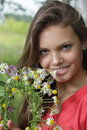 Girl with flower diadem Stock Photography