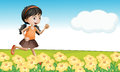A girl in a flower field illustration of running Royalty Free Stock Photos