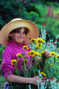Girl flower garden Royalty Free Stock Photography