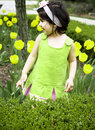 Girl in flower garden5 Stock Photography