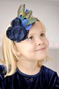 Girl with flower headband portrait of little Stock Photo