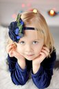 Girl with flower headband portrait of little Stock Photography