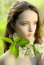 Girl flower sensuality portrait outdoor Royalty Free Stock Photo