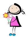 Girl with flower smiling bouquet of flowers Stock Photos