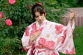 Girl in a flower yukata Royalty Free Stock Photography