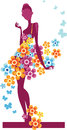 Girl in the flowers dress vector illustration of a decorative a silhouette of and Stock Images